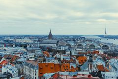 Riga skyline with roof tops of old town royalty free stock photography