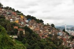 Skyline of Rio de Janeiro Slums on Mountains Stock Photos