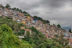 Skyline of Rio de Janeiro Slums on Mountains Stock Images