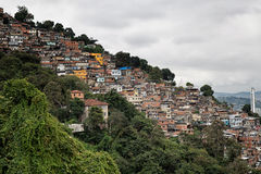 Skyline of Rio de Janeiro Slums on Mountains Royalty Free Stock Photography