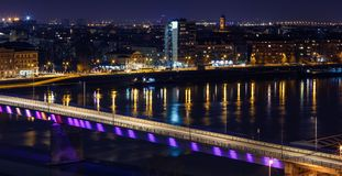Skyline and river at night-urban city. Skyline and river at night -urban city background Stock Photos