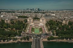 """Skyline, River Seine, Trocadero and buildings under blue sky, seen from the Eiffel Tower in Paris. Known as the """"City of Light"""", is one of the most Stock Photos"""