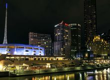 Skyline by river yarra at night central melbourne CBD australia Royalty Free Stock Photo