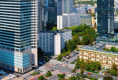 Skyline of road and modern skyscrapers in Warsaw city center. In Poland stock photos