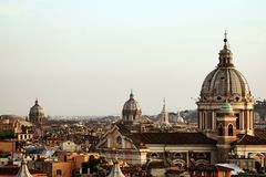 Roman domes. Skyline of Rome with a domes. Tourism and vacations. Catolic church Stock Image