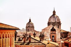 Roman domes. Skyline of Rome with a domes. Tourism and vacations. Catolic church Royalty Free Stock Photos