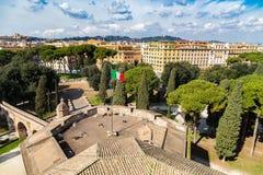 Skyline of Rome and italian flag Royalty Free Stock Image