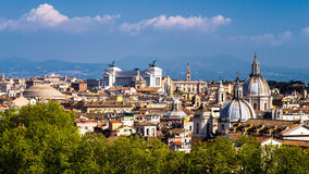Skyline of Rome, Italy. Panoramic view of Rome architecture and Stock Images