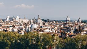 Skyline of Rome, Italy. Panoramic view of Rome architecture and Royalty Free Stock Photos