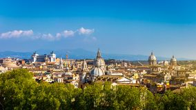 Skyline of Rome, Italy. Panoramic view of Rome architecture and Stock Photo