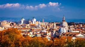Skyline of Rome, Italy. Panoramic view of Rome architecture and Stock Image