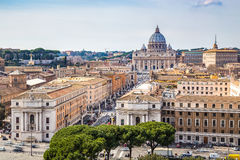 Skyline of Rome with St. Peter's Basilica Stock Image
