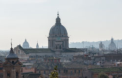 Skyline of Rome towards San Carlo al Corso Royalty Free Stock Image