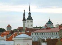 Skyline and Rooftop View with Tallinn Town Hall and St. Nicolas Church, Tallinn, Estonia Royalty Free Stock Photos