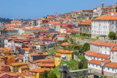 Porto skyline with rooftops and colorful houses royalty free stock photography