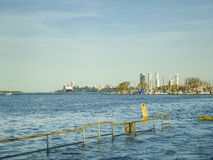 Skyline of Rosario City from Parana River Royalty Free Stock Images