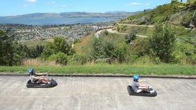 Skyline Rotorua Luge in Rotorua city - New Zealand stock footage