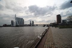 Skyline of Rotterdam with buildings at the Erasmusbrug over river Nieuwe maas. royalty free stock photos