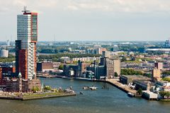 Skyline of Rotterdam, city of the Netherlands Royalty Free Stock Image