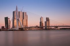 Skyline of rotterdam with erasmusbridge Stock Photography