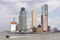Skyline from Rotterdam in the Netherlands. With the river Meuse Royalty Free Stock Image