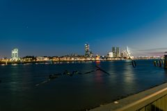 The skyline of Rotterdam, The Netherlands at blue hour. stock photo