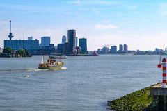 Skyline of Rotterdam, Netherlands, seen from the biggest harbor stock image