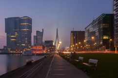 Skyline of Rotterdam at night Stock Photos