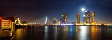 Skyline Rotterdam by night Royalty Free Stock Image