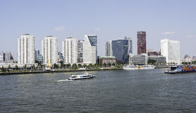 Skyline rotterdam with the river maas Royalty Free Stock Photos