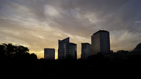 Skyline of Saint-Josse-ten-Noode business area at sunset.dng Stock Photo