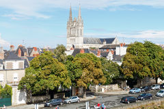 Skyline with Saint Maurice Cathedral in Angers Stock Photography