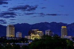 Skyline of Salt Lake City night. Salt lake City Utah skyline at night Blue sky royalty free stock photos