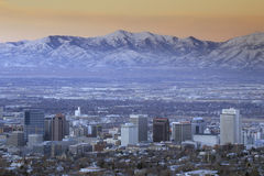 Skyline of Salt Lake City, UT with Snow capped Wasatch Mountains in background royalty free stock photography