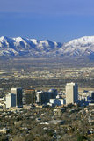 Skyline of Salt Lake City, UT with Snow capped Wasatch Mountains in background Stock Photo