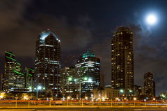 Skyline of San Diego with big moon behind the skys Stock Images