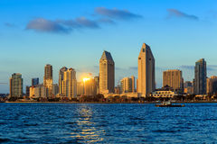 Skyline of San Diego, California from Coronado Bay stock photography