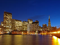 The Skyline of San Francisco at night. Royalty Free Stock Images