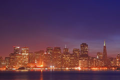 The Skyline of San Francisco at Night Royalty Free Stock Images