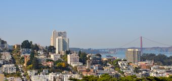 Skyline of San Francisco with a view of Lombard st. Reet and the Golden gate, California, USA Royalty Free Stock Photos