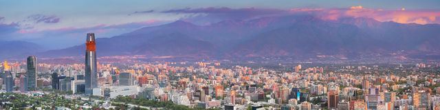 Skyline of Santiago de Chile from Cerro San Cristobal. The skyline of Santiago in Chile. Photographed from Cerro San Cristobal at sunset stock image