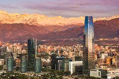 Skyline of Santiago de Chile. At the foots of The Andes Mountain Range and buildings at Providencia district Royalty Free Stock Photo
