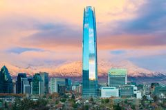 Santiago de Chile with Los Andes Mountains in the back. Skyline of Santiago de Chile with Los Andes Mountains in the back, Las Condes, Santiago de Chile Royalty Free Stock Image