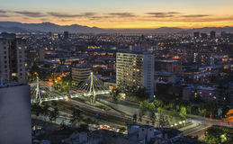 The skyline of Santiago de Chile by night. The skyline of Santiago de Chile by evening with bridge Stock Photography