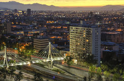 The skyline of Santiago de Chile by night. The skyline of Santiago de Chile by evening with bridge Stock Image