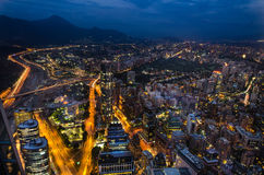 The skyline of Santiago de Chile by night. Beautiful landscape of Chile, Santiago Royalty Free Stock Photos