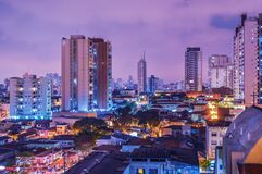 Skyline of Sao Paulo, Brazil at sunset Royalty Free Stock Images