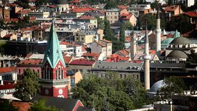 Skyline Sarajevo Old Town, Bosnia And Herzegovina. Skyline Sarajevo Old Town with bell towers and minarets, Bosnia And Herzegovina royalty free stock photos