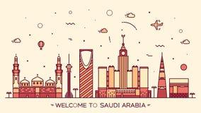 Skyline Saudi Arabia silhouette linear style Stock Images