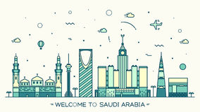 Skyline Saudi Arabia Trendy vector linear style. Skyline Saudi Arabia Trendy vector illustration linear style Stock Photo